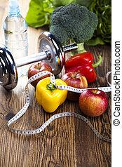 dumbell, medida, condición física, cinta