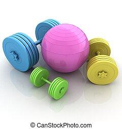 dumbell, pelota, condición física