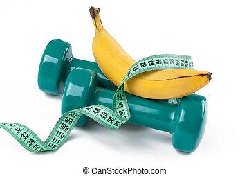 dumbell, verde, plátano