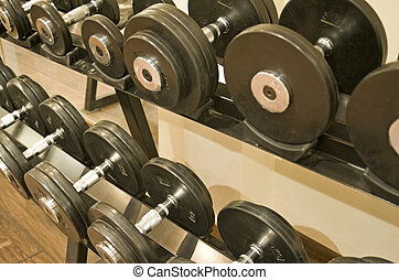 Dumbell weights in a gym - Free dumbell weights on a rack in...