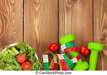 dumbells, alimento, encima, sano, cintamétrica, tabla de...