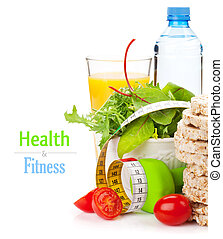 dumbells, cintamétrica, y, sano, comida., condición física, y, salud