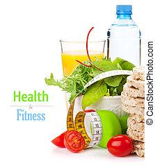 dumbells, mètre à ruban, et, sain, nourriture., fitness, et, santé