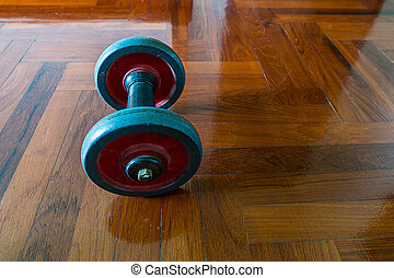 dumbells, på, trä golvbeläggning
