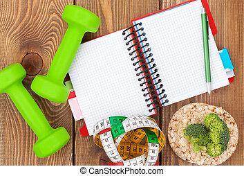 dumbells, sain, bloc-notes, space., nourriture, santé, fitness, mesure, copie, bande