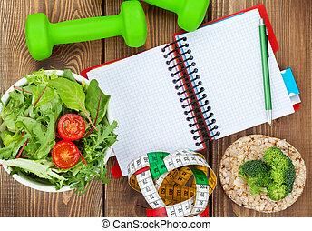 dumbells, sano, bloc, space., alimento, medida, cinta, copia