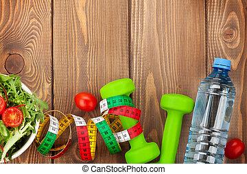 dumbells, sano, condición física, comida., cintamétrica,...