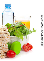 dumbells, y, sano, comida., condición física, y, salud
