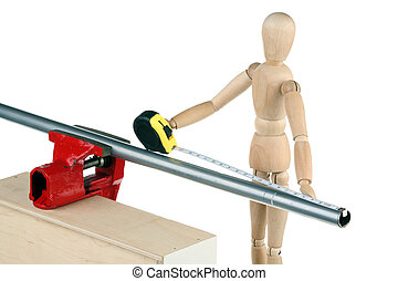 Dummy and pipe - The dummy measures the length of metal pipe...
