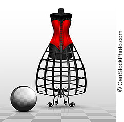 dummy and red corset - in black-white abstract room is a big...