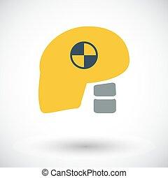 dummy, cabeça, test., choque, ícone