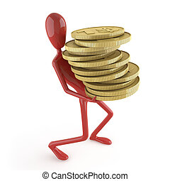 dummy carrying coins - conceptual illustration for money...