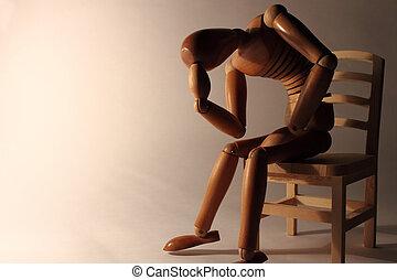 dummy, espaço, madeira, sentando, preocupado, cópia
