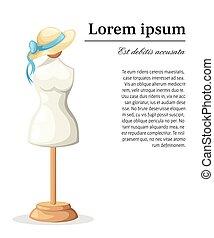 Dummy Female body vintage mannequin dummy for female body. Flat design style vector illustration.