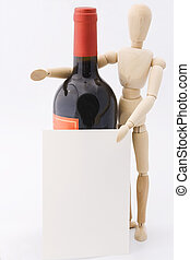 Dummy presents red wine bottle