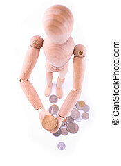 Dummy with coins
