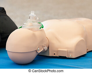 Dummy with mask used for CPR
