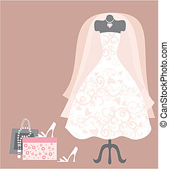 wedding dress and access - Dummy with wedding dress and...
