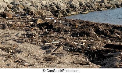 Dump Garbage On The Beach Near The Sea, Environmental Pollution
