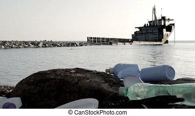 Dump Garbage On The Beach Near The Sea, Rust Ship In The Sea, Environmental Pollution