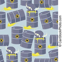 Dump toxic waste barrels. Seamless pattern dump hazardous chemical wastes. Vector illustration bio hazard?