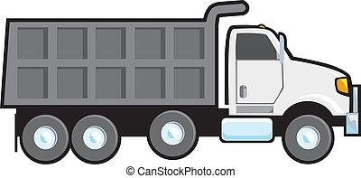 Dump Truck - A typical plain white blank American dump...