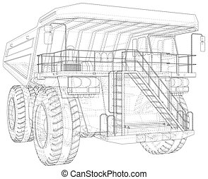 Dump truck, big transporter. The layers of visible and invisible lines are separated. EPS10 format. Wire-frame