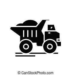 Dump truck black icon, concept illustration, vector flat symbol, glyph sign.