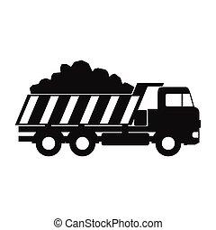 Dump truck black simple icon