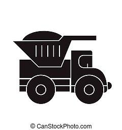 Dump truck black vector concept icon. Dump truck flat illustration, sign