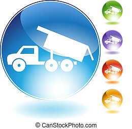 Dump Truck Crystal Icon - Dump truck crystal icon isolated...