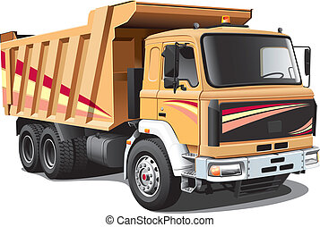 Detailed image of light-brown dump truck, isolated on white background. File contains gradients. No blends and strokes.