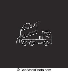 Dump truck. Drawn in chalk icon. - Dump truck. Hand drawn in...