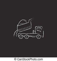Dump truck. Drawn in chalk icon. - Dump truck. Hand drawn in...