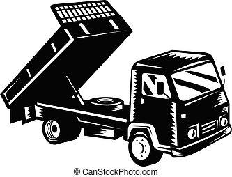 Dump Truck Dumper Truck or Tipper Truck Retro Woodcut Black ...