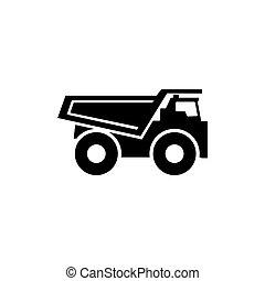 Dump Truck Flat Vector Icon