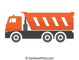 Dump truck flat vector illustration.