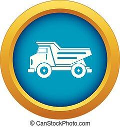 Dump truck icon blue vector isolated