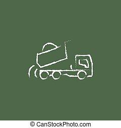 Dump truck icon drawn in chalk.
