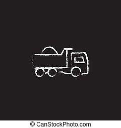 Dump truck icon drawn in chalk. - Dump truck hand drawn in...