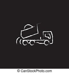 Dump truck hand drawn in chalk on a blackboard vector white icon isolated on a black background.