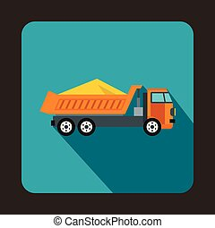 Dump truck icon, flat style