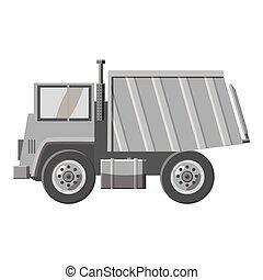 Dump truck icon, gray monochrome style