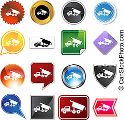 Dump truck icon set isolated on a white background.