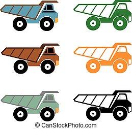 Dump truck icon, vector