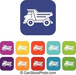 Dump truck icons set flat