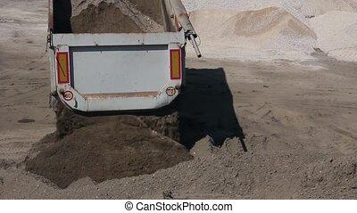 Dump truck is unloading sand. - Dumper truck is unloading...