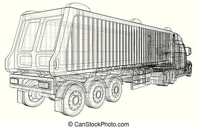 Dump truck. Isolated. Created illustration of 3d. Wire-frame.