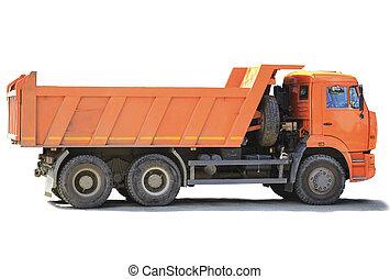 orange dump truck on white background