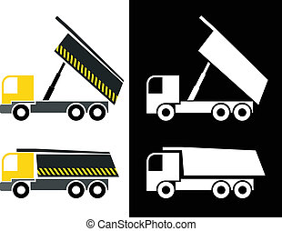 Dump truck - isolated vector icons. Tipper truck. White...